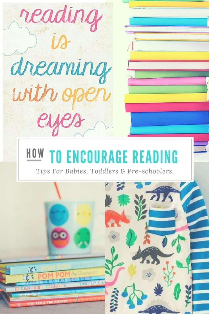 Pintrest infographic with light blue pictures of books and How to encourage reading