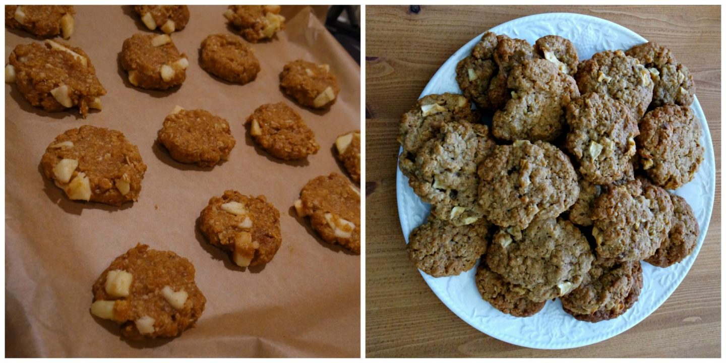 Left picture a tray of prebaked cookies right picture a white plate filled with baked cookies
